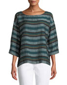 Eileen Fisher Petite Cross-Dyed Linen Striped Box Tee
