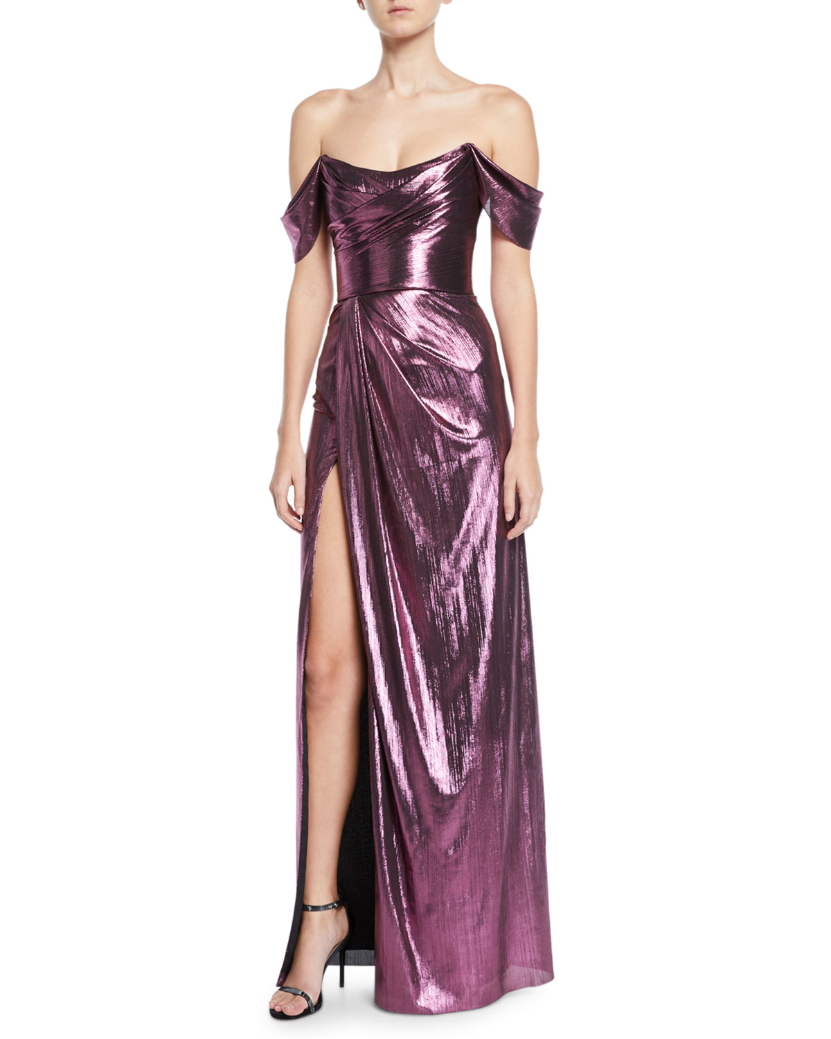 Off-The-Shoulder Metallic Lame Draped Gown in Lilac