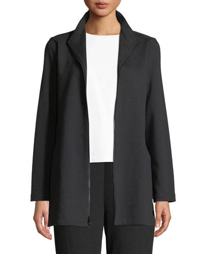 Plus Size Travel Ponte Zip-Front Jacket