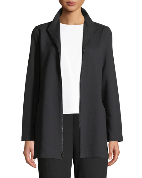 Eileen Fisher Plus Size Travel Ponte Zip-Front Jacket