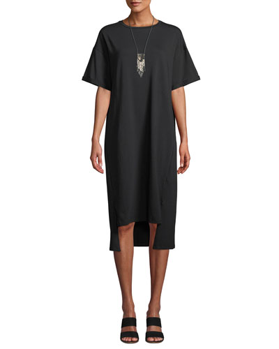 Petite Short-Sleeve Stretch Jersey High-Low Dress