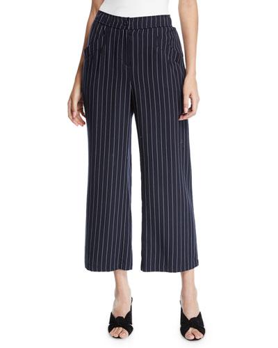 Tencel® Cropped Wide-Leg Striped Pants