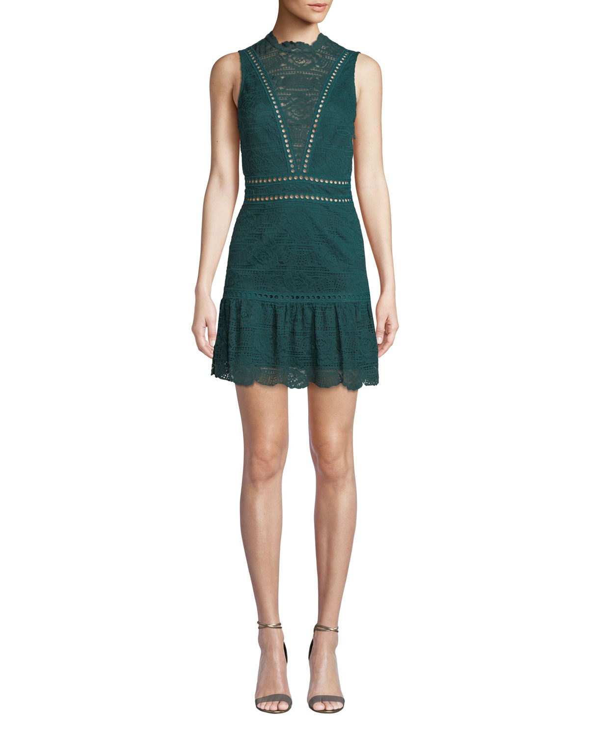 Rosemary Lace Open-Back Mini Dress