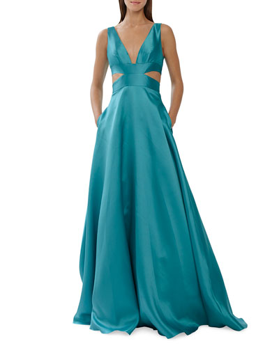 Sleeveless V-Neck Satin Ball Gown w/ Side Cutouts