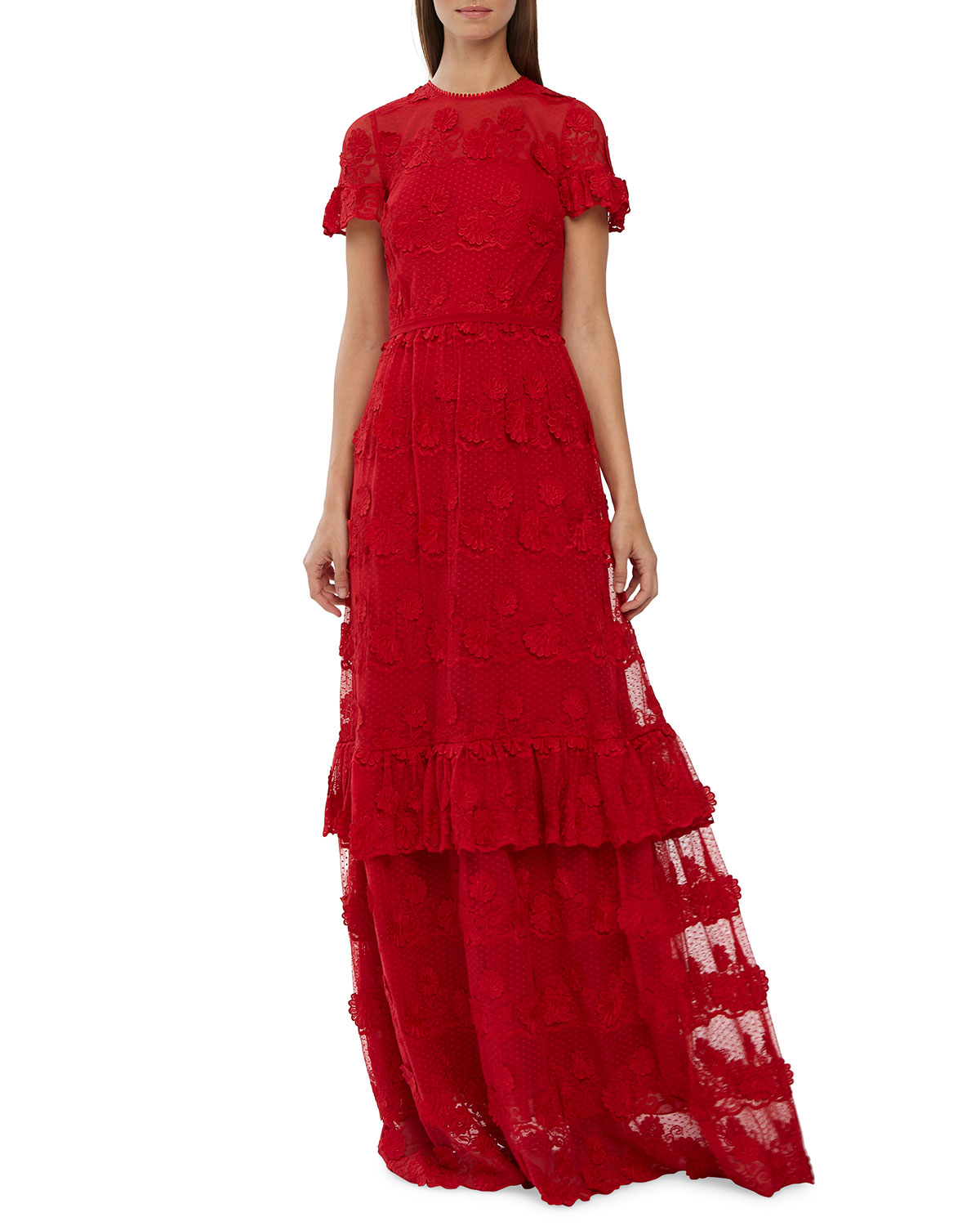 665ddfce6af Ml Monique Lhuillier High-Neck Short-Sleeve Lace Dress In Flame