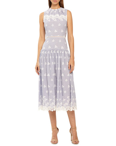 Sleeveless Dropped-Waist Embroidered Poplin Midi Dress w/ Lace