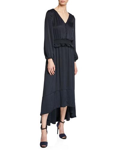cd992ce12021 Quick Look. ML Monique Lhuillier · V-Neck Blouson-Sleeve Satin High-Low  Dress