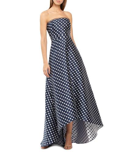 Strapless Polka-Dot High-Low Dress