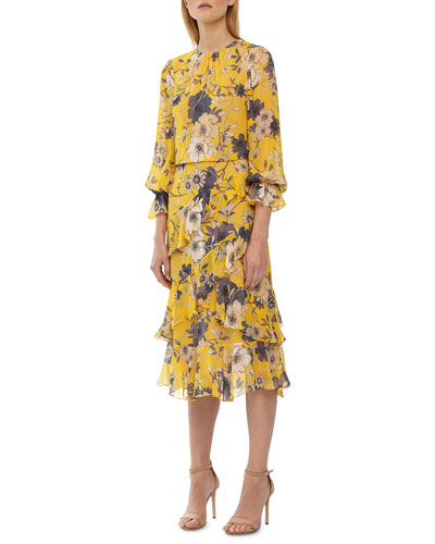 91a06f350bb Quick Look. ML Monique Lhuillier · Crewneck 3/4-Sleeve Floral-Print Midi  Dress ...