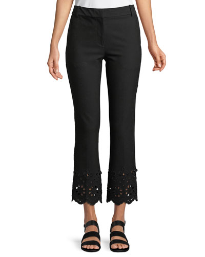 Cropped Flare Stretch-Cotton Trousers with Eyelet Embroidery