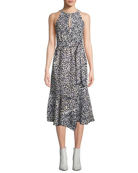 Derek Lam 10 Crosby Sleeveless Belted Printed A-Line Dress