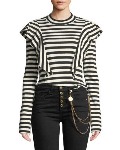 Dawson Striped Ruffle Long-Sleeve Tee