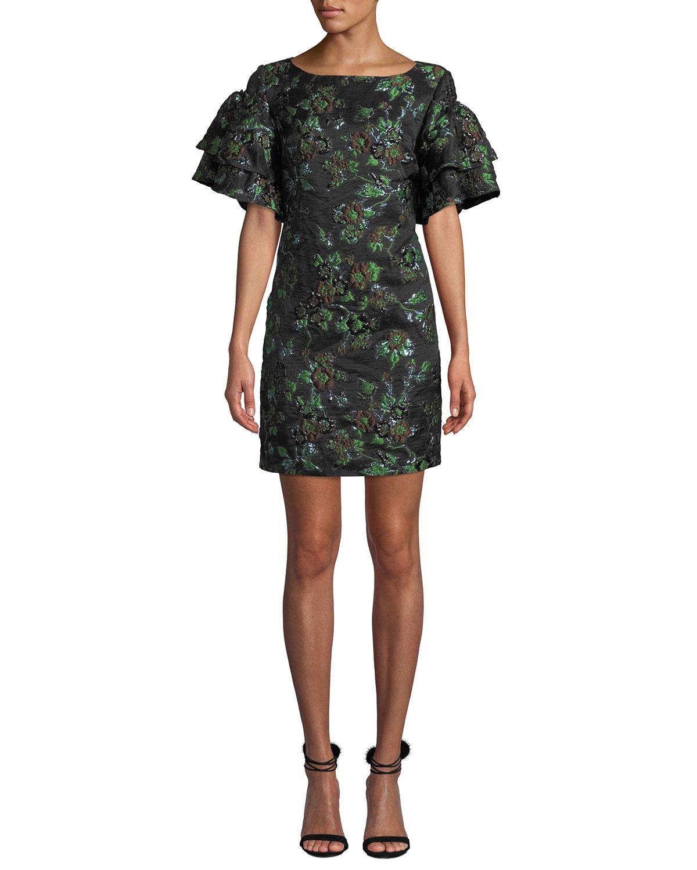Brocade Exaggerated-Sleeve Dress