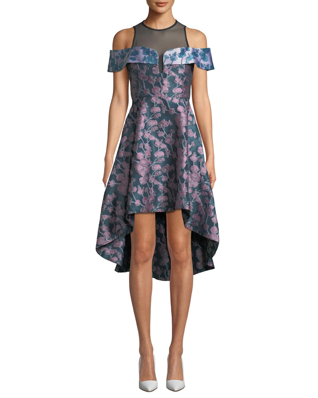 Amore Floral Jacquard & Mesh Dress