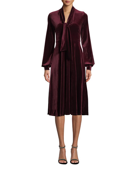 Black Halo Ruby Velvet Long-Sleeve Dress