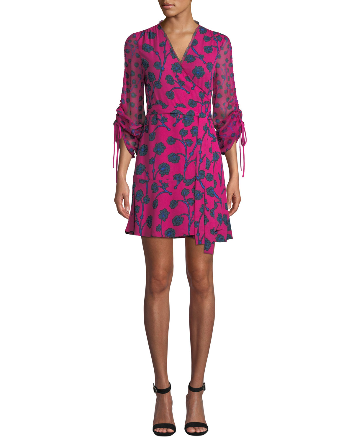 Tamra Floral-Print Long-Sleeve Wrap Dress