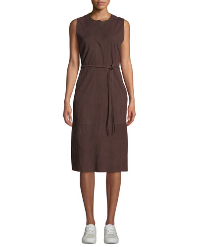 Belted Suede Sleeveless Midi Dress