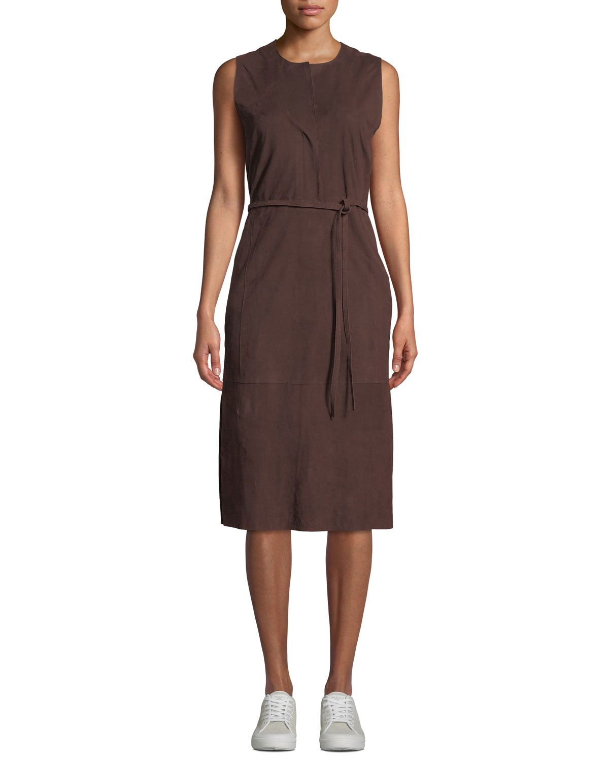 Vince Dresses BELTED SUEDE SLEEVELESS MIDI DRESS