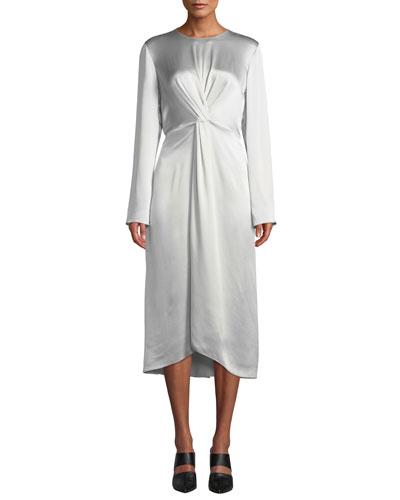 f9e597f97992 Quick Look. Vince · Twist-Front Long-Sleeve Silk Midi Dress