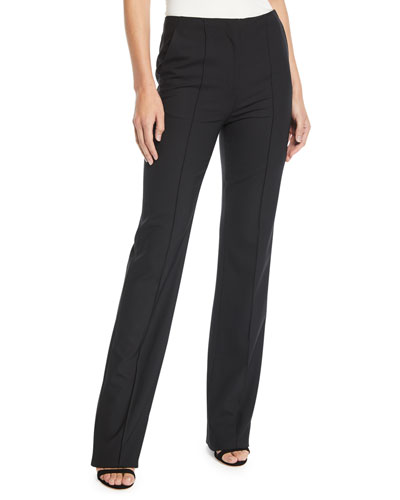 Cruz Pleated Crepe Straight-Leg Pants
