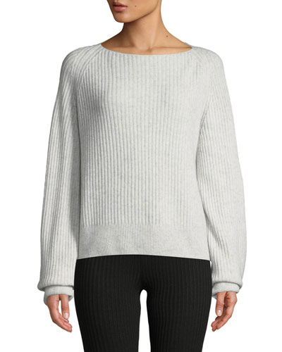 Ribbed Boat-Neck Wool-Cashmere Sweater