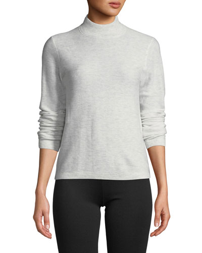 Waffle-Knit Mock-Neck Wool-Cashmere Sweater