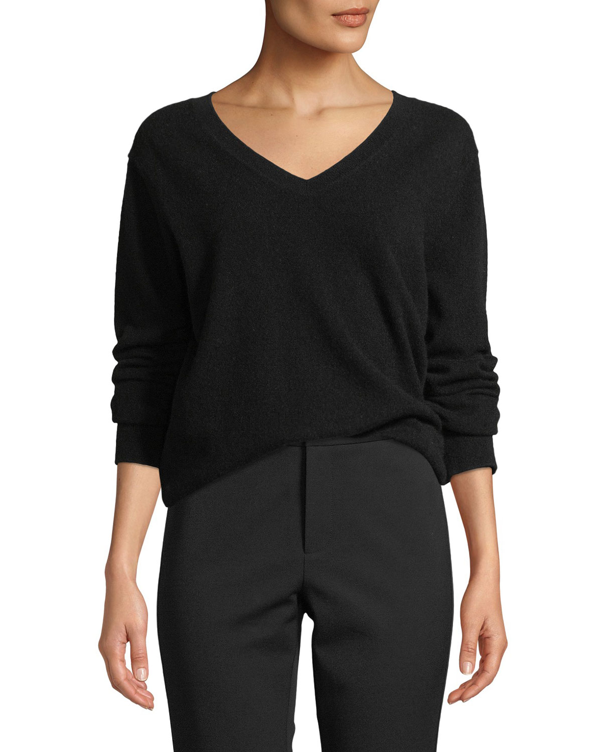 Weekend V-Neck Cashmere Pullover Sweater in Gray
