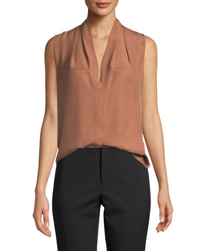 3a06ca33aa23b Quick Look. Vince · Dot Jacquard Draped-Neck Silk Blouse