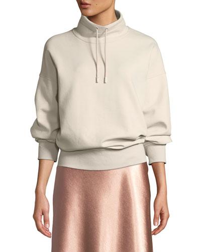 Funnel-Neck Dropped-Shoulder Pullover Sweatshirt