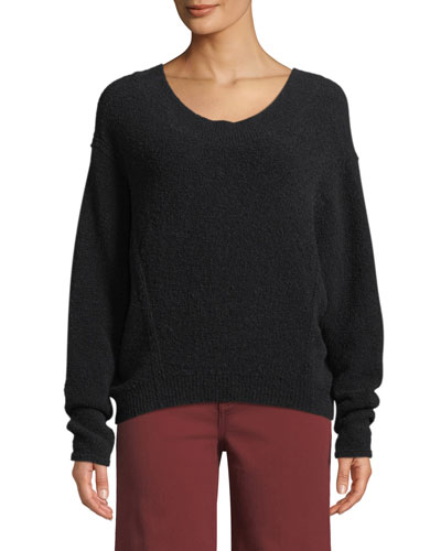 Scoop-Neck Wool Dolman-Sleeve Sweater