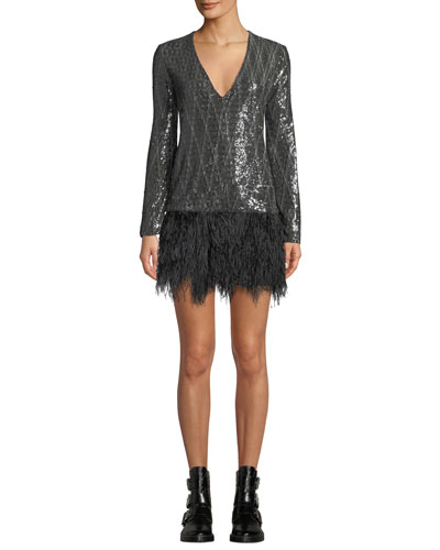 Giorgios Metallic Short Dress with Ostrich Feathers