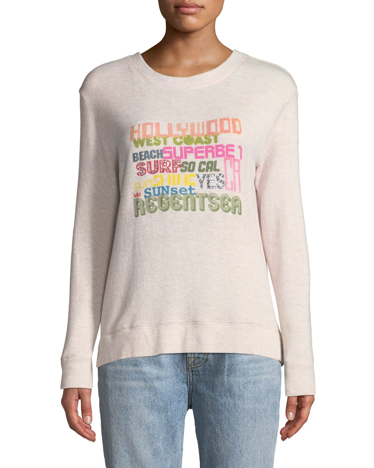 LE SUPERBE Bay St. Hollywood Graphic Pullover Sweatshirt in Multi Pattern