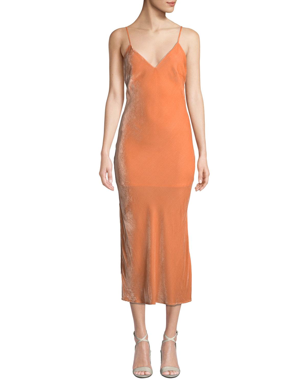 LE SUPERBE Nomad Velvet Midi-Length Slip Dress in Blush