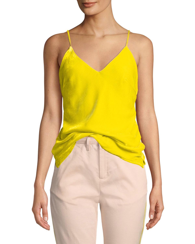 LE SUPERBE Nomad Velvet V-Neck Cami in Yellow Pattern