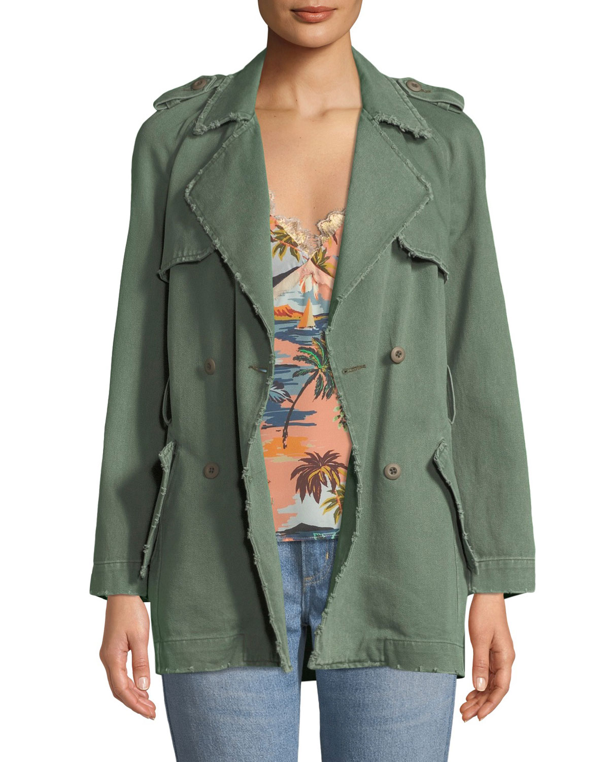 LE SUPERBE Eye C U Embroidered Double-Breasted Trench Coat in Green