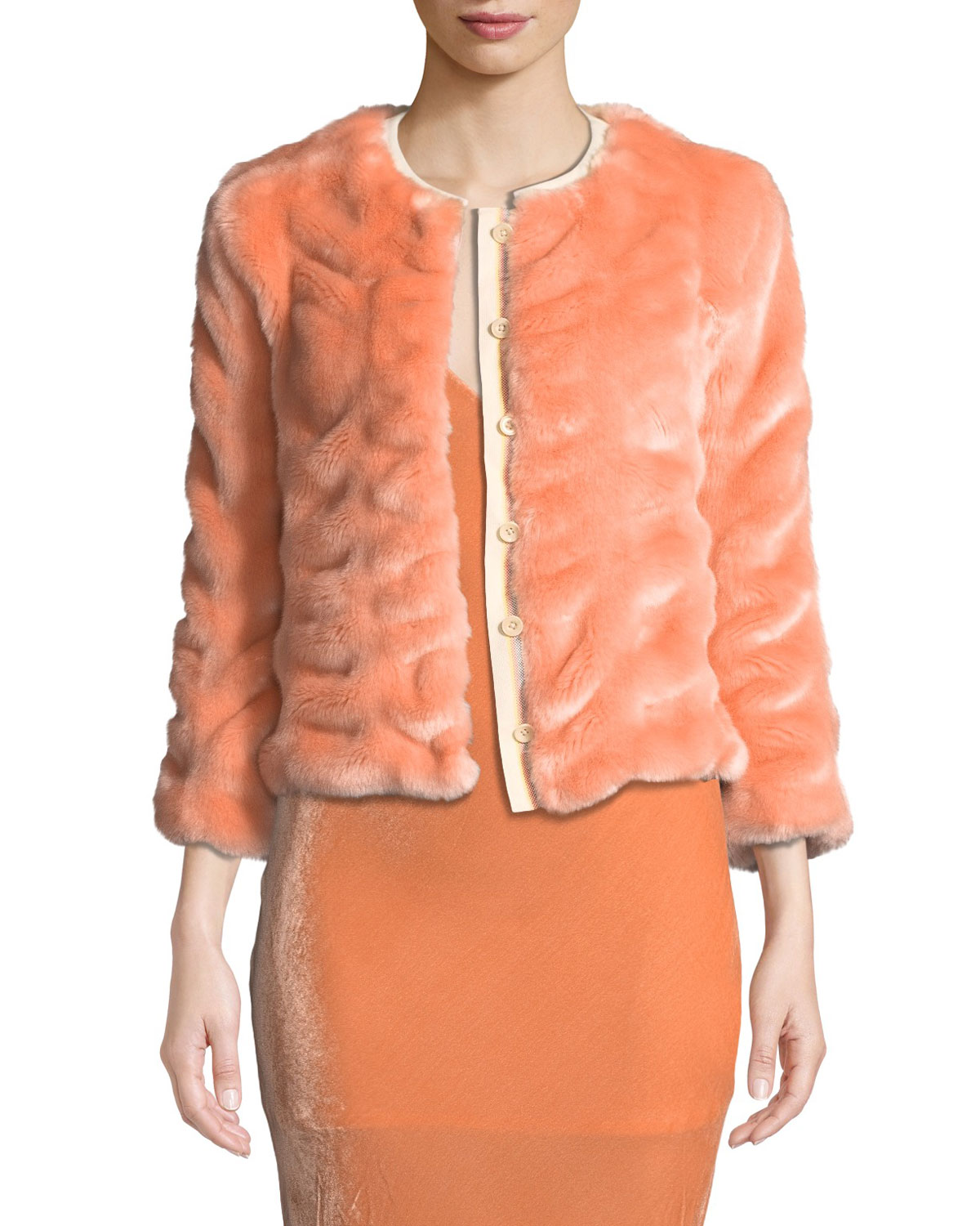 LE SUPERBE Walker Chubby Faux-Fur Coat in Coral