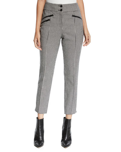 Felton High-Rise Cropped Houndstooth Trousers