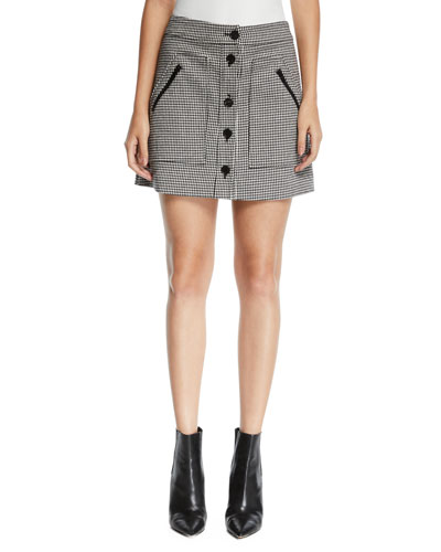 Monroe Houndstooth Button-Front Mini Skirt