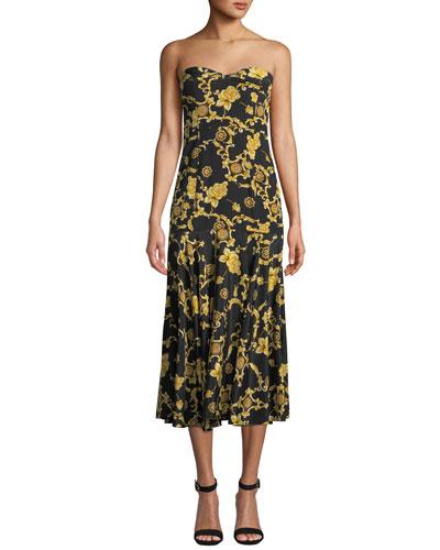 Annika Printed Silk Strapless Midi Dress