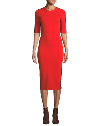 Audrie 3/4-Sleeve Jersey Midi Dress with Racer Stripes