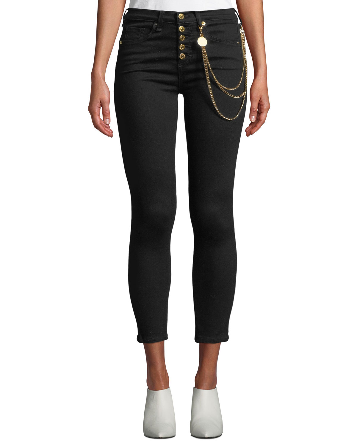 "Debbie 10"" Rise Skinny Jeans With Gold Chains in Raven"