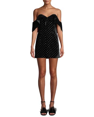 af4358d22f4d54 Quick Look. Self-Portrait · Off-Shoulder Velvet Embellished Mini Dress