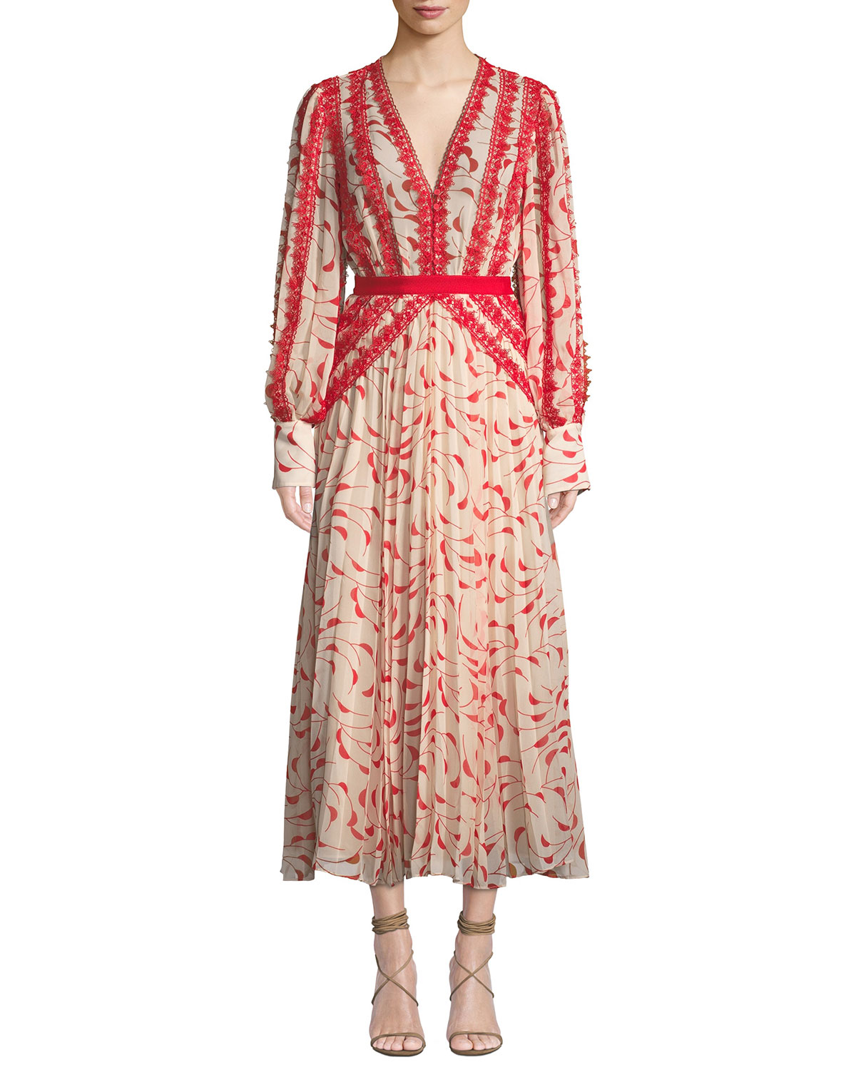 Printed Chiffon Lace Pleated Long-Sleeve Midi Dress in Cream/Red