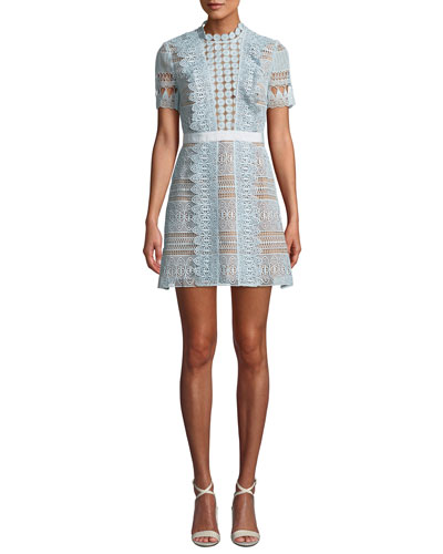 796a319ddc727d Quick Look. Self-Portrait · Floral Lace Short-Sleeve Mini Dress