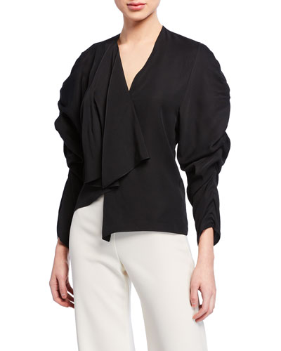 V-Neck Long-Sleeve Ruched Top