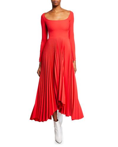 Scoop-Neck Long-Sleeve Pleated Dress