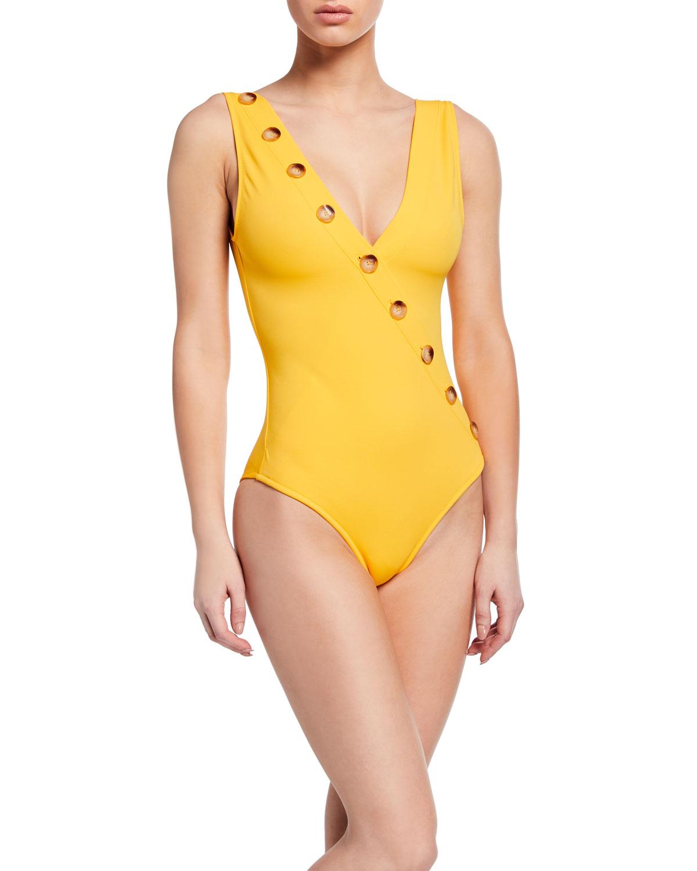OYE SWIMWEAR Kate High-Leg One-Piece Swimsuit in Black