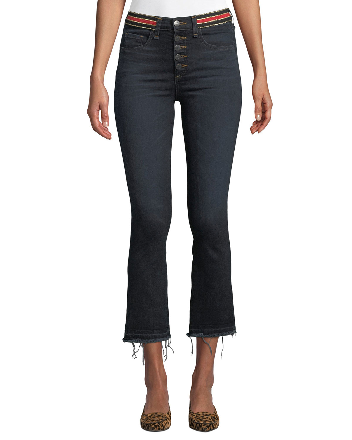 Carolyn High-Rise Cropped Jeans With Striped Waistband, Dark Blue