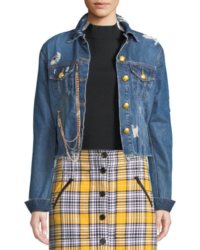 Cara Distressed Cropped Jean Jacket w/ Gold Chain
