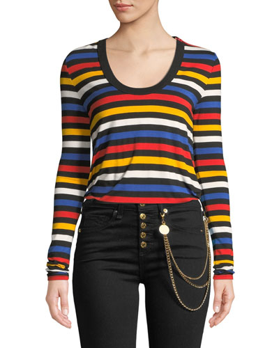 Falk Striped Scoop-Neck Long-Sleeve Tee